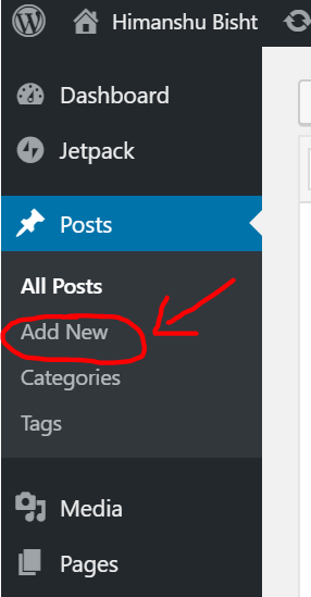 Create new page on wordpress - 1st step