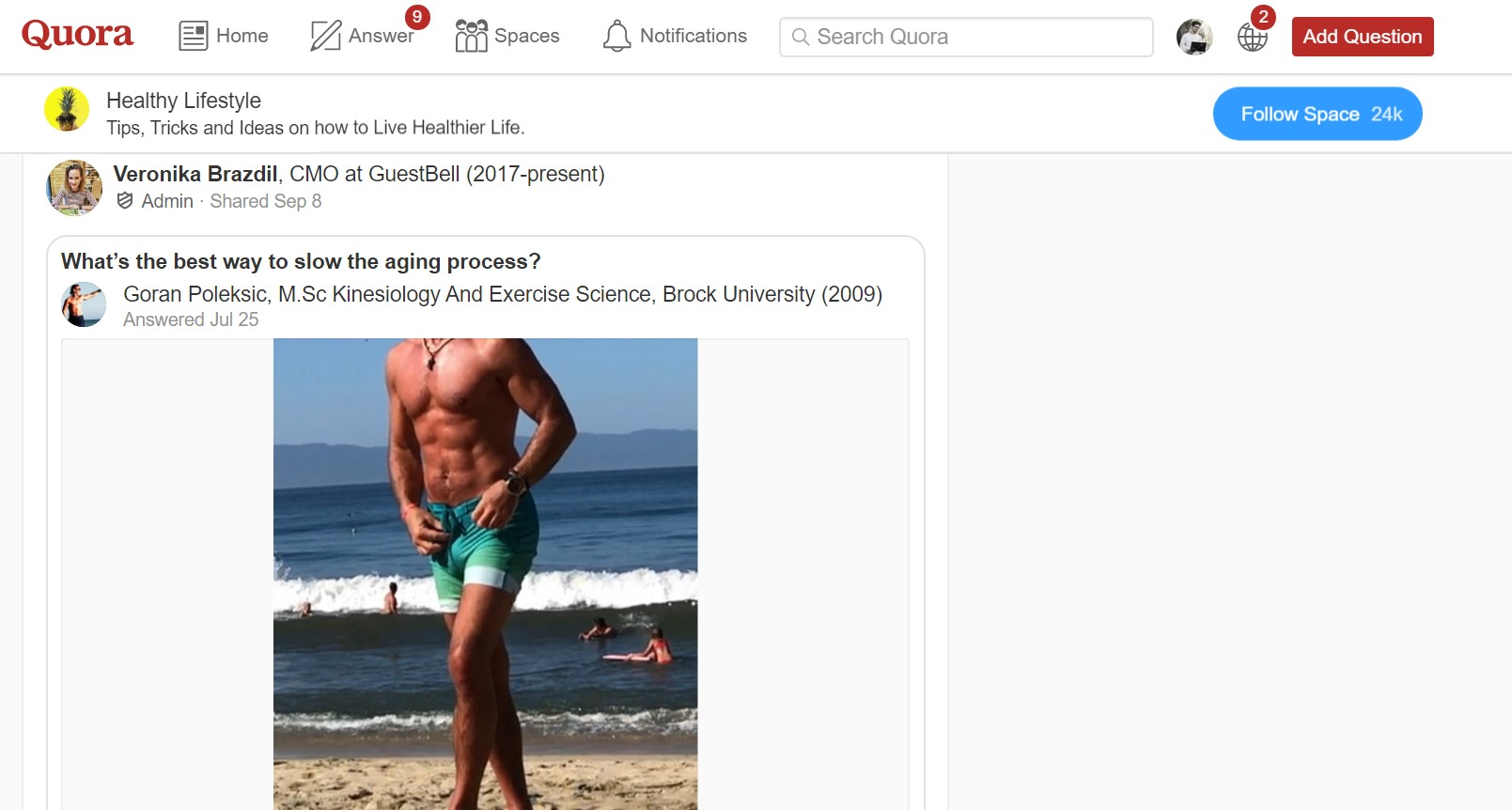 Quora ageing example screenshot