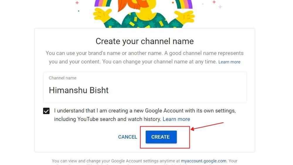 Create youtube channel - final step